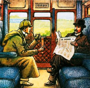 Sherlock Holmes and Watson travelling by train